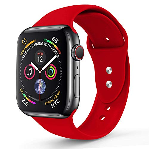 RUOQINI Compatible with Apple Watch Band 44mm,Sport Silicone Soft Replacement Band Compatible for Apple Watch Series 4, M/L Red