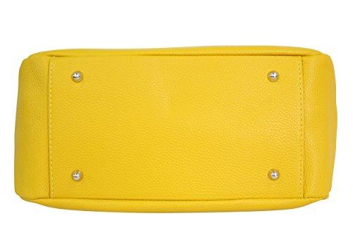 en Sac Jaune Sac Shopper bandoulière Moda GL002 cuir main véritable à Ambra x0IqwPHx