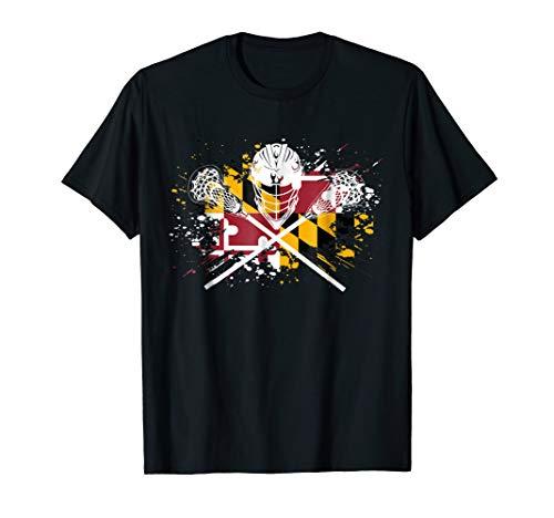 (Boys Lacrosse Shirt Sticks Crossed Helmet LAX Maryland Flag)