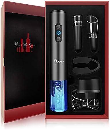 Flauno - Sacacorchos eléctrico recargable, caja de regalo con abridor de botellas, cortacápsulas y aireador de vino, tapón de vino vacío