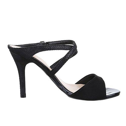 Ital-Design Damen Schuhe, AF16225, Sandaletten High Heels mit Riemchen Pumps Schwarz