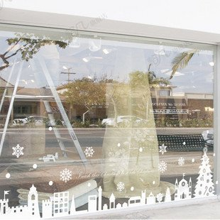 Cristal grande MeleStore Pegatinas Navidad Escaparate Tienda Decoración Ventana Ciudad Año Nuevo 2015 Pegatinas Pared Adhesivo