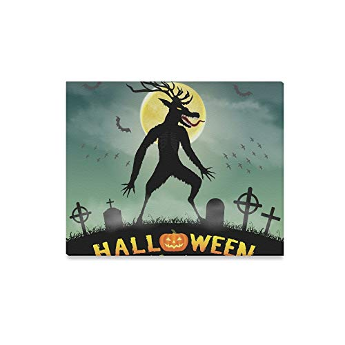 Wall Art Painting Halloween Scary Wendigo Monster Night Graveyard Prints On Canvas The Picture Landscape Pictures Oil for Home Modern Decoration Print Decor for Living Room -