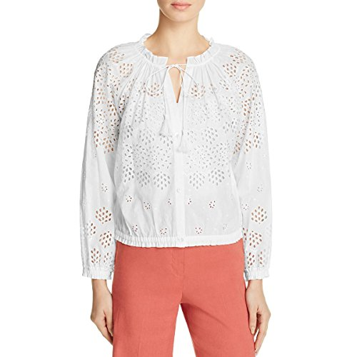 Theory Womens Maryana Eyelet Button Down Casual Top White S by Theory