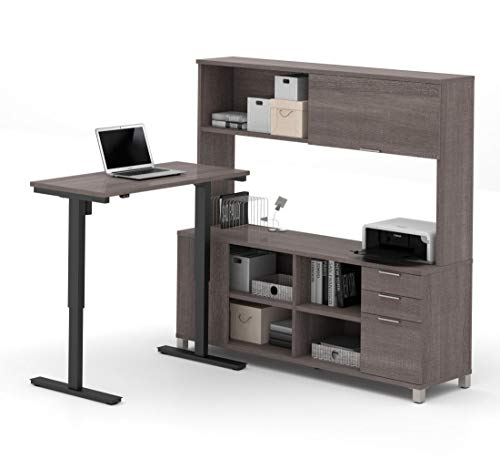 Bestar 2-Piece Set Including a Standing Desk and a credenza with Hutch - Pro-Linea