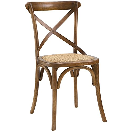 Modway Gear Modern Farmhouse Cross Back Solid Elm Wood Dining Side Chair With Rattan Seat In Walnut