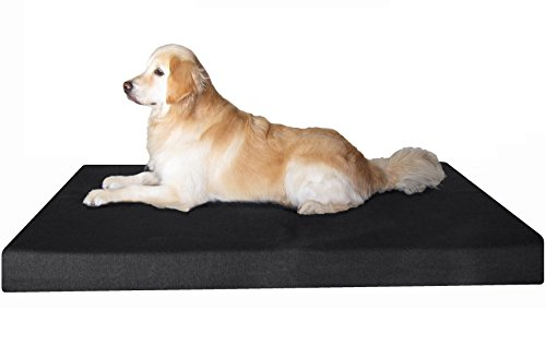 Dogbed4less Orthopedic Memory Foam Dog Bed for Large Pet with Durable Black Canvas Cover, Waterproof Liner and Extra Case, Gel Cooling XXL 55X37X4 Pad