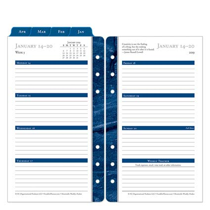 Franklin Covey Pocket - Pocket Monticello Weekly Ring-Bound Planner - Jan 2019 - Dec 2019