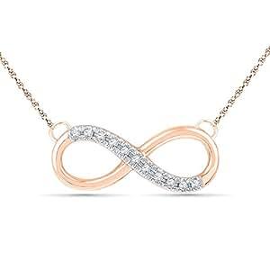 Bevilles 9ct Rose Gold Diamond Set Infinity Necklace