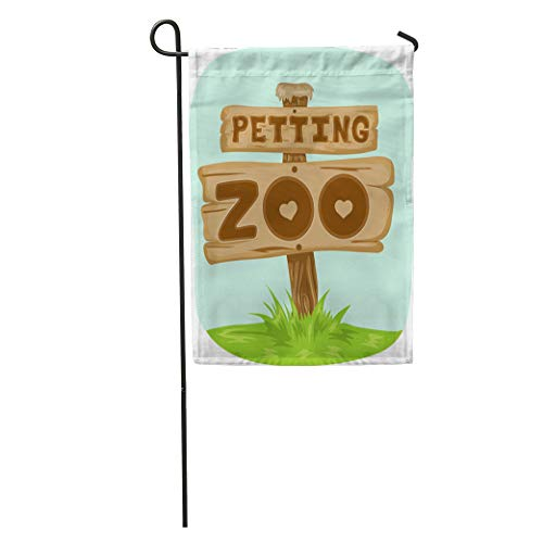 Semtomn Garden Flag Clipart Featuring Wooden Board The Phrase Petting Zoo Written Home Yard Decor Barnner Outdoor Stand 12x18 Inches Flag