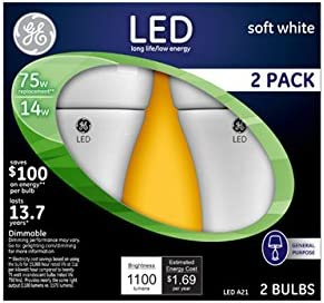 G E Lighting 30913 GE 2PK 14W A21 LED Bulb