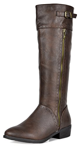 DREAM PAIRS Women's KOSON Brown Knee High Winter Riding Boots Wide Calf Size 9.5 M US