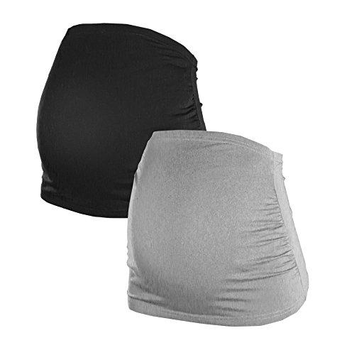 Maternity Pregnancy Bellyband | Set of 2 | Kidney Warmer-Shirt Extension | Everyday Women´s Maternity Wear | 6000 (M, Black|Grey)