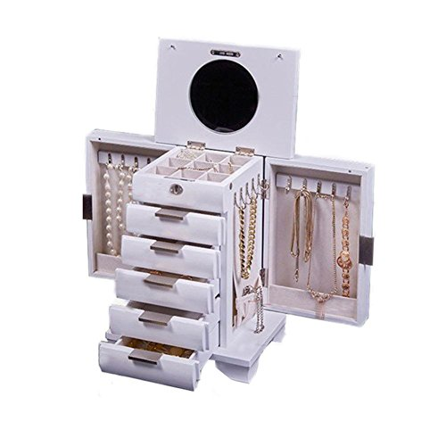 LUCKYYAN High - grade Solid wood Jewelry Box Band lock Large - capacity Jewelry Storage Box Wedding Birthday Gift , white by LUCKYYAN