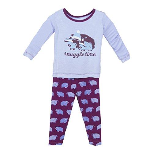 KicKee Pants Girls Print Long Sleeve Pajama Set Prd-Kplp108-Mymy, Melody Musk Ox, 6Y