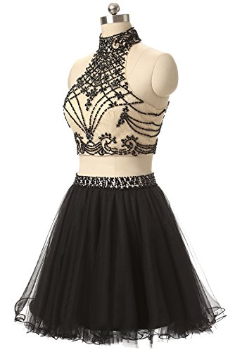 Party Pieces Two Gown Butmoon Homecoming Neck Cocktail Beaded Dresses Women's Black Halter TXXnqwgR6