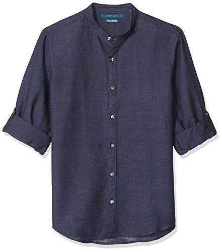 Perry Ellis Men's Solid Linen Cotton Rolled Sleeve Banded Collar Shirt, Navy-4ESW7067, Extra Large