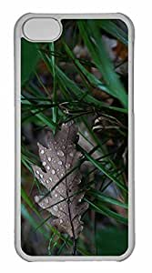 iPhone 5C Case, Personalized Custom Wet Oak Leaf for iPhone 5C PC Clear Case