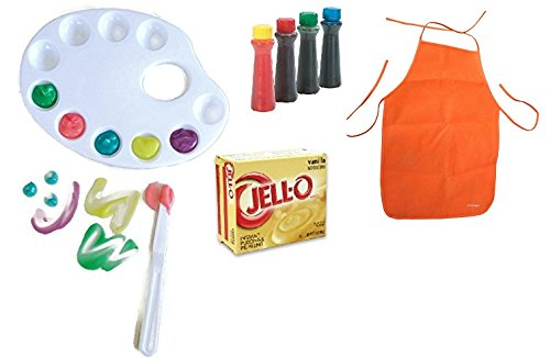 Jell-o Pudding Finger Paint Fun Set Bundle - 4 Items - Artist Palette with Tools, Reusable Fabric Apron, Jello Pudding Mix and Food Coloring. Edible Finger Paints!!