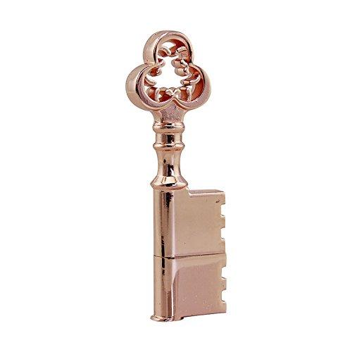 CHUYI Waterproof Metal Rose Gold Key Shape 32GB USB 2.0 Flash Drive Pen Drive Memory Stick USB Stick USB Drive Thumb Drive Gift