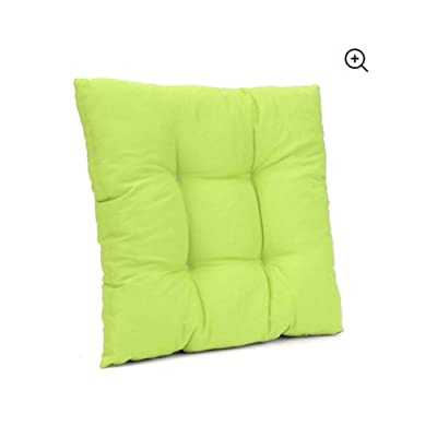 Central Choices-15.8''15.8'' Square Multicolor Soft Chair Pad Seat Cushion Sofa Pillow Furniture Mat w/Ties Garden Patio Office Home Decor (Green): Office Products