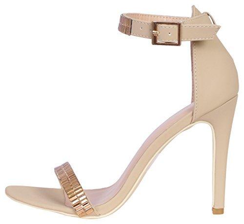 Glaze Women\'s Stiletto Jewel Plated High Heel Ankle Strap Dress Sandals - Open Toe Strappy Heels, Nude Nubuck, Size 7.5'