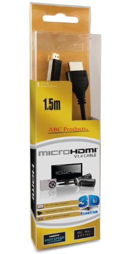 ABC Products Replacement Sony Micro D HD HDMI Cable Cord Lead DLC-HEU15 for Select Cyber-Shot Digital Camera / Handycam Camcorder / Walkman / Sony Ericsson Smartphone CELL / Mobile Phone / Digital Binoculars etc (Models Stated Below)