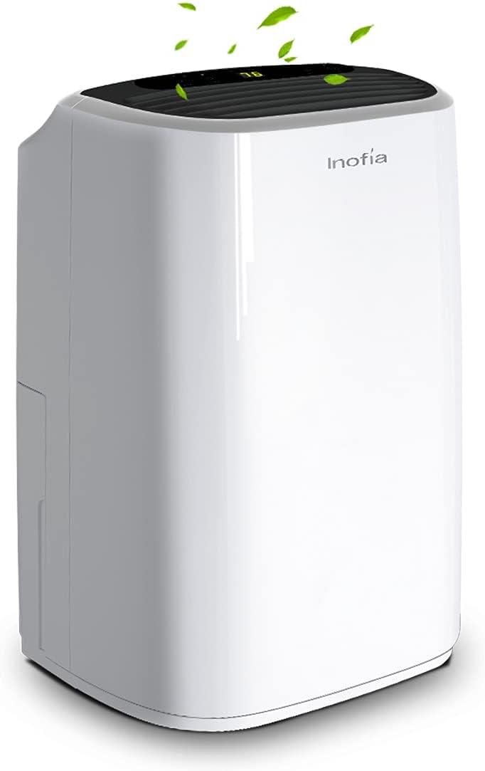 Inofia 30 Pint 1500 SQ FT Home Dehumidifiers for Basements Bathroom Garage Laundry/Store Room, Portable Dehumidifiers for Small & Midium-size Rooms with Continuous Drain Hose & Water Reservoir