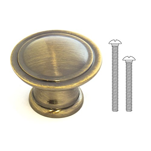 Kitchen Cabinet Knob, Antique Aged Brass, 1-1/3 Inch Diameter, 2 Mounting Screw Sizes. Drawer Knob or Dresser Knob. 10 Pack. Round & Metal. Also for Bedroom, Laundry, Bathroom. Beautify Any Room.