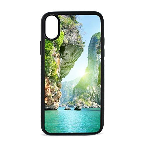 iPhone X Case,Naturaleza Catarartas Islas Oceano TPU Anti Scratch Protective Cover,Compatible Cell Phone Cases,Printed Shockproof Defender 5.8in