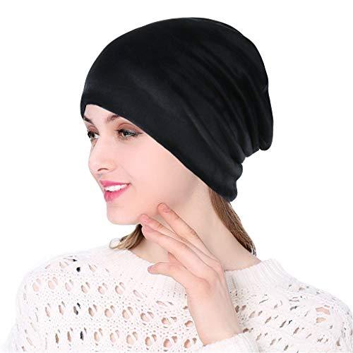 Yezijin Women Soild India Pile Heap Stretch Turban Hat Knitt Hair Loss Head Scarf Wrap 2019 New Black (Best Winter Hats 2019)