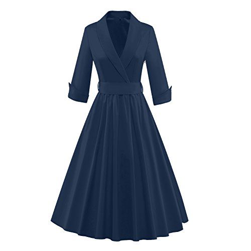1960's Womens Suit (Tecrio Women Vintage Classy 1/2 Sleeve Rockabilly Solid Trench Coat Spring Dress XXL Navy Blue)