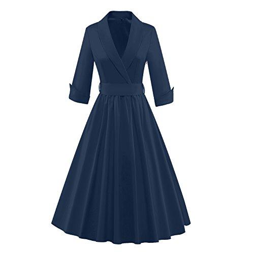 Tecrio Women Vintage Classy 1/2 Sleeve Rockabilly Solid Trench Coat Spring Dress XXL Navy ()