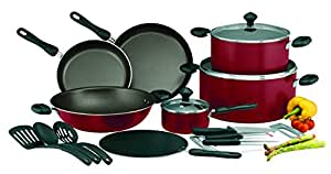 Prestige Aluminum Non-stick Cookware Set of 17-Piece, Red PR21822