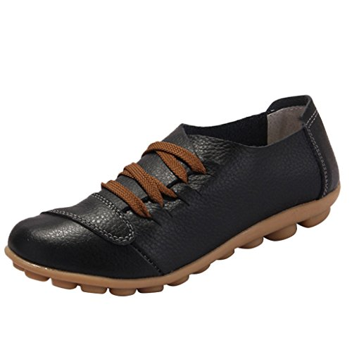 Mocassini Da Donna Ottimali Lace-up Mocassini Da Barca Nero