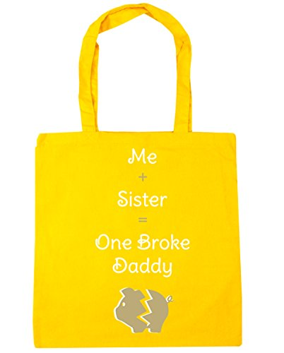 HippoWarehouse me + hermana = One Broke Daddy Tote Compras Bolsa de playa 42cm x38cm, 10litros amarillo