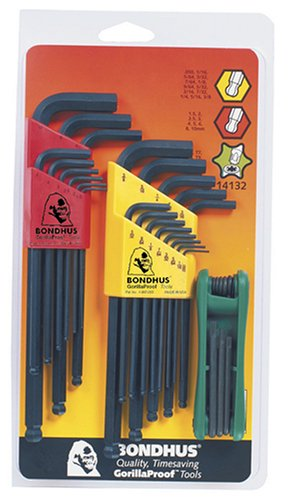 Bondhus 14132 Triple-Pack of .050 to 3/8-Inch Ball End Hex,