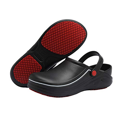 EASTSURE Slip Resistant Kitchen Shoes Chef Clogs Multifunctional Restaurant Garden Safety Work Medical Shoes for Men Women,40-41 Black