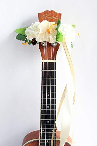 - ukuhappy Ukulele Ribbon Leis Hawaiian Crafts Ukulele Accessories Hanging type (white)