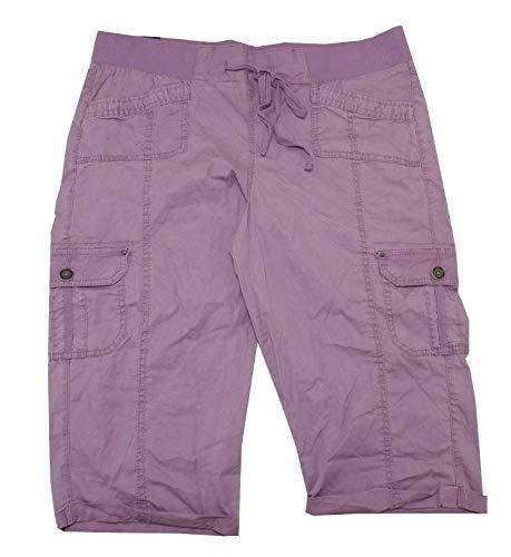 Drawstring Cargo Capri Pants - One 5 One Womens Cargo Capri Pants w/Drawstring Waist (X-Large, Chocolate Plum)