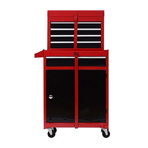 Chest with and Removable Tool Box - Red and Black