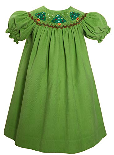 (Carouselwear Jolly Holiday Girls Bishop Dress Smocked Christmas Tress)