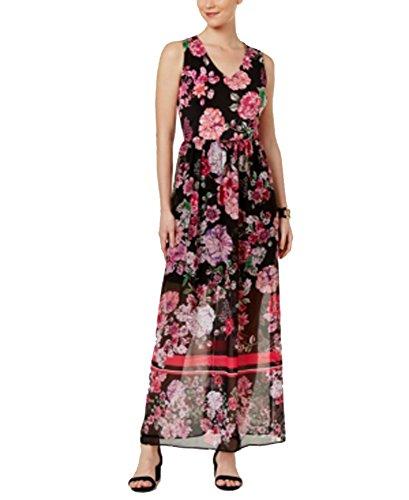 ECI New York Eci Floral-Print Mixed-Media Maxi Dress (Blackpink, (Mixed Print Maxi Dress)
