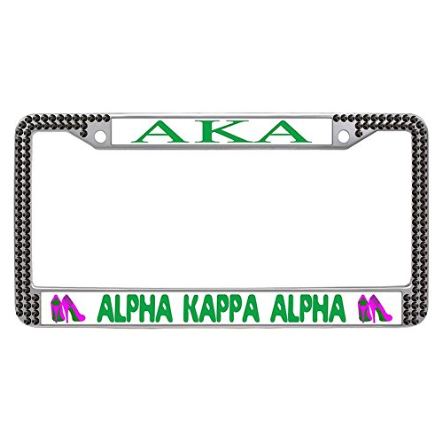 Alpha Kappa Alpha License Plate Frame, Custom AKA Sorority Car License Plate Covers for Women, aka-18, Black Rhinestone