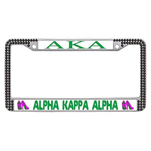 (Alpha Kappa Alpha License Plate Frame, Custom AKA Sorority Car License Plate Covers for Women, aka-18, Black Rhinestone)