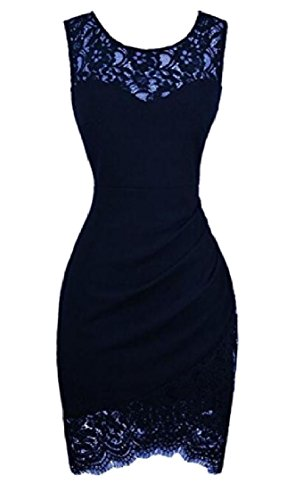 Cocktail Dress Lace Solid Fit Purplish Bodycon Women Coolred Stylish Blue Sleeveless qw81f10B