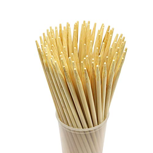 Prouten 7 inch 100 pcs Sturdy Bamboo Sticks for Caramel Candy Apple Sticks Corn Dog Hotdog Sausage skewers Candy Lollipops Corn Sticks semi-Pointed Tips Safe for Kids Pack of 100pcs]()