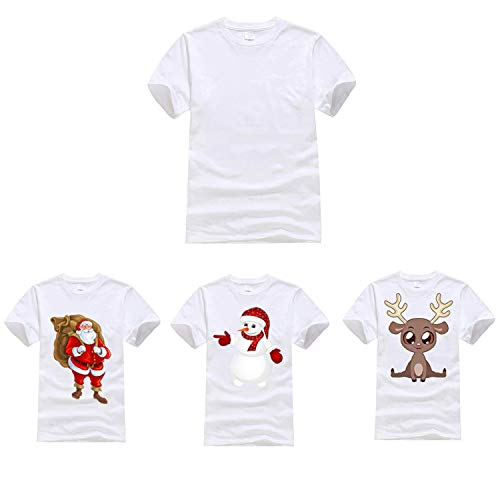 10PCS White Sublimation Blanks T-Shirts Christmas DIY T-Shirts for Women &  Men