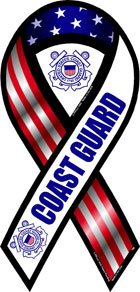 2-in-1 Red, White, and Blue Coast Guard Ribbon Magnet