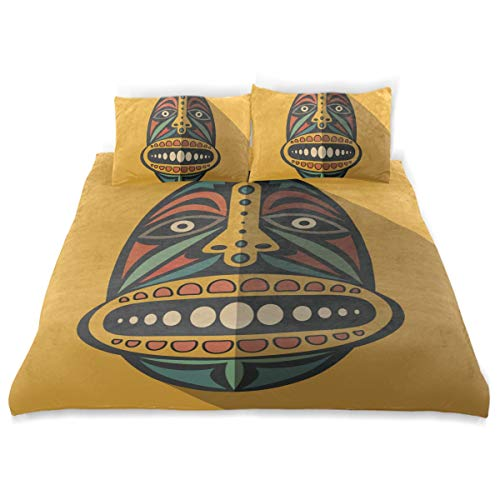 super3Dprinted African Art Tribal Print Kids Duvet Cover Set, Twin Size 3 Piece